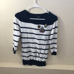 Embroidered, navy stripe sweater